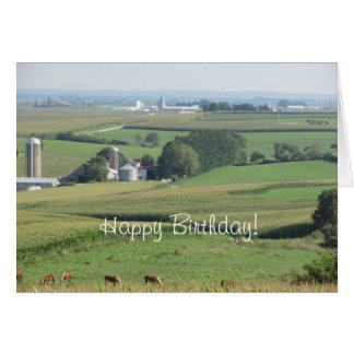 Happy Birthday Scenic Farm View from the Midwest Card
