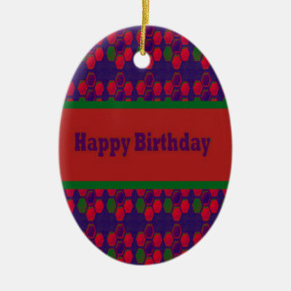 HAPPY Birthday Script Greeting Celebration Event 9 Christmas Ornaments