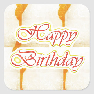 HAPPY Birthday Script : SAFFRON Pure Crystal Square Sticker
