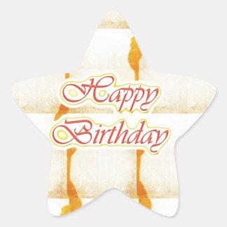 HAPPY Birthday Script : SAFFRON Pure Crystal Star Sticker