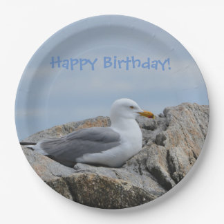Happy Birthday Seagull Paper Plate