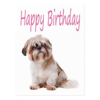 Happy Birthday Shih Tzu Puppy Postcard