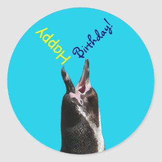 Happy Birthday! Shouting Penguin Funny Stickers