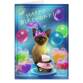 Happy Birthday Siamese Kitten Greeting Card