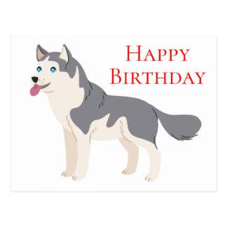 Happy Birthday Siberian Husky Puppy Dog Postcard