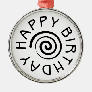 Happy Birthday Silver-Colored Round Decoration