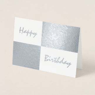 Happy Birthday Silver Foil and White Rectangles Foil Card