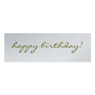 Happy Birthday: Silver Greeting Tag Pack Of Skinny Business Cards