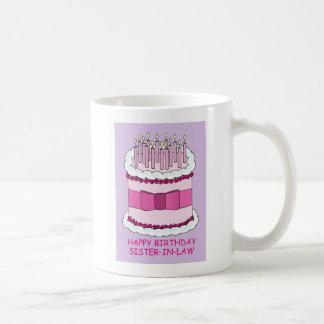 Happy Birthday sister-in-law, giant cake, Coffee Mug