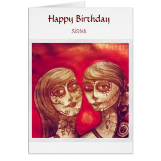 happy birthday sister mexican sugar skulls card