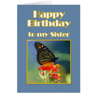 Happy Birthday Sister Monarch Butterfly Card