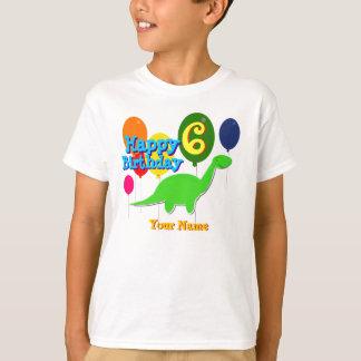 Happy Birthday Six Years Balloons Dinosaur T-Shirt