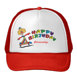 Happy Birthday Skateboarding Clown Cap