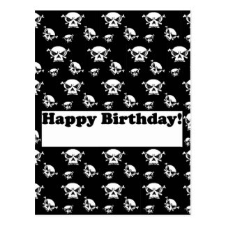 Happy Birthday Skulls Template Postcard