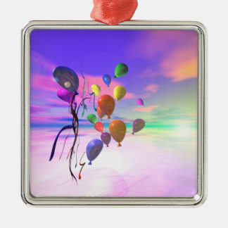 Happy Birthday Sky Balloons Silver-Colored Square Decoration