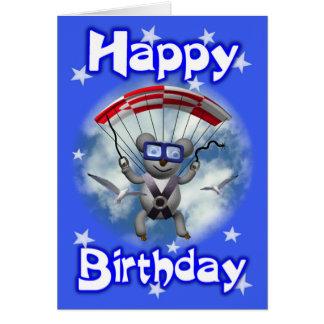 Happy Birthday Sky Diving Koala Greeting Card