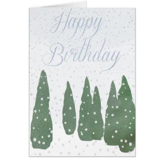 Happy Birthday, Snowy Day Greeting Card