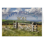 Happy Birthday Son, landscape with a gate Greeting Card