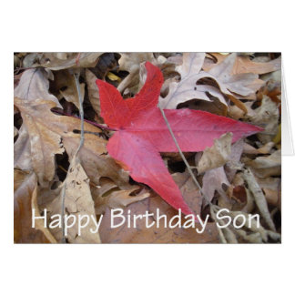 Happy Birthday Son - Red Leaf Greeting Card