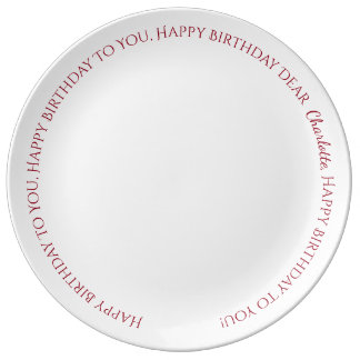 Happy Birthday Song Red and White Personalized Plate