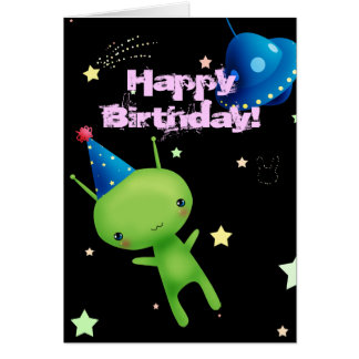 Happy Birthday Space Alien Card