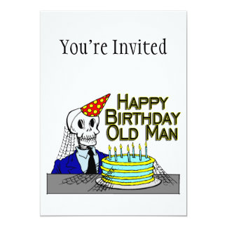 Happy Birthday Spider Web Old Man 13 Cm X 18 Cm Invitation Card