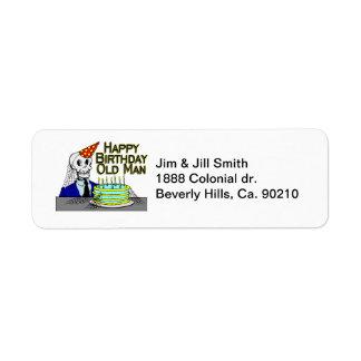 Happy Birthday Spider Web Old Man Return Address Label