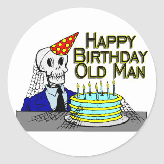 Happy Birthday Spider Web Old Man Round Sticker