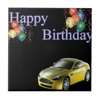 Happy Birthday Sports car design Tile