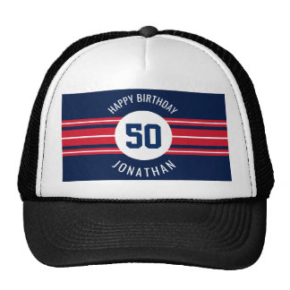 Happy Birthday Sports Jersey Stripes Name and Age Cap