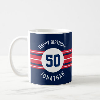 Happy Birthday Sports Jersey Stripes Name and Age Coffee Mug