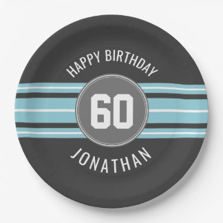Happy Birthday Sports Jersey Stripes Name and Age Paper Plate