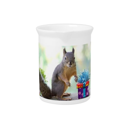 Happy Birthday Squirrel Beverage Pitcher