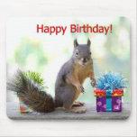 Happy Birthday Squirrel Mouse Pad