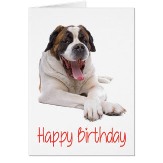 Happy Birthday St Bernard Puppy Dog Greeting Card