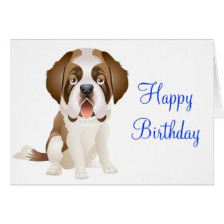 Happy Birthday St Bernard  Puppy Dog Greeting Card