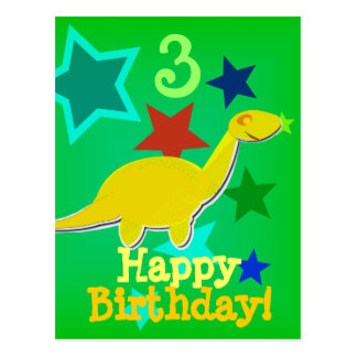 Happy Birthday Star Dinosaur Postcard