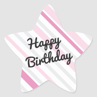 Happy Birthday Star PINK Star Sticker
