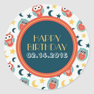 Happy Birthday Stickers Baby Owl Cartoon