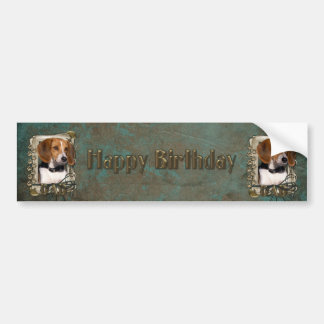 Happy Birthday - Stone Paws - Beagle - Dad Bumper Sticker