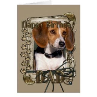 Happy Birthday - Stone Paws - Beagle - Dad Greeting Card