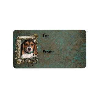 Happy Birthday - Stone Paws - Beagle Puppy - Dad Address Label
