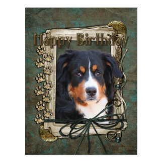 Happy Birthday - Stone Paws - Bernese Mountain Dog Postcard