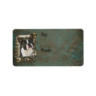 Happy Birthday - Stone Paws - Boston Terrier - Dad Address Label