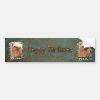 Happy Birthday - Stone Paws - Brussels Griffon Bumper Sticker