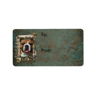 Happy Birthday - Stone Paws - Bulldog - Dad Address Label
