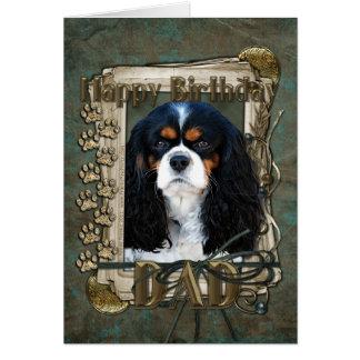 Happy Birthday - Stone Paws - Cavalier - Dad Greeting Card