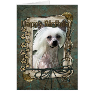 Happy Birthday - Stone Paws -Chinese Crested Kahlo Greeting Card