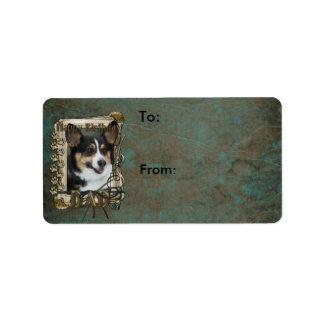 Happy Birthday - Stone Paws - Corgi - Dad Address Label