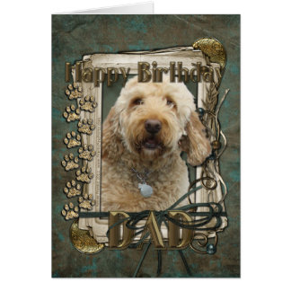 Happy Birthday - Stone Paws - GoldenDoodle - Dad Greeting Card